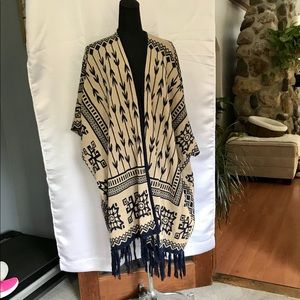 Beautiful tan and navy shawl